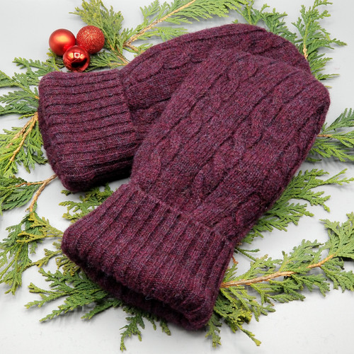 Recycled Wool Sweater Mittens, Felted & Fleece Lined, Burgundy Cable Knit with Burgundy Ribbed Cuff, Extra Large Size