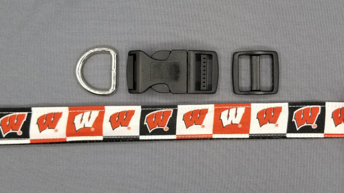 Collar - Wisconsin Badgers W on Black, Red, and White