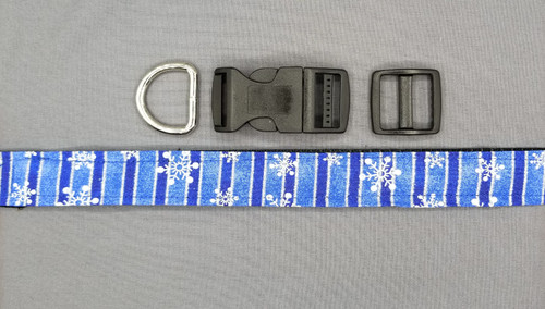 Collar - Blue and Dark Blue Vertical Bars with White Snowflakes