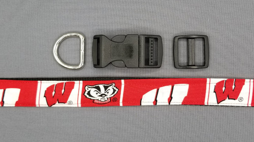 Collar - Badgers W and Bucky on Red and White