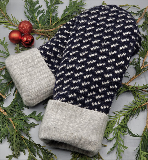 Recycled Wool Sweater Mittens, Felted & Fleece Lined, Navy with Heather Grey Design and Cuff, Extra Large Size, 1127