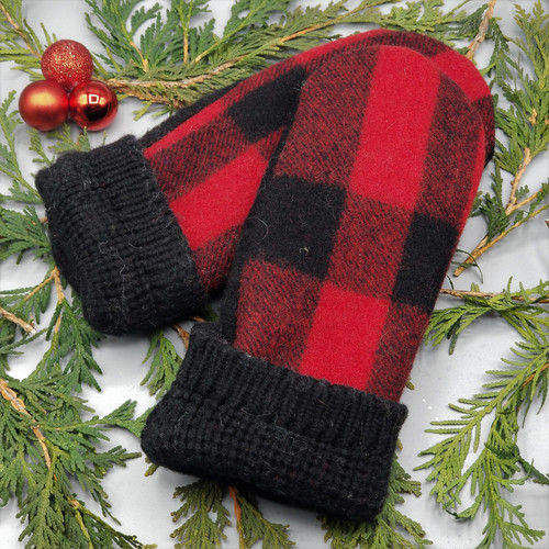 Recycled Wool Sweater Mittens, Felted & Fleece Lined, Faribault Woolen Mill Blanket in Red and Black Buffalo Plaid with Black Cuff, Women's Regular Size, 1127