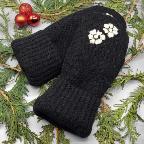 Recycled Wool Sweater Mittens, Felted & Fleece Lined, Embroidered Ivory Flowers on Black with Black Ribbed Cuff, Women's Regular Size, 1127