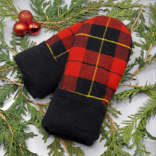 Recycled Wool Sweater Mittens, Felted & Fleece Lined, Plaid in Red and Black with Yellow Accent and Black Cuff, Women's Regular Size, 1127