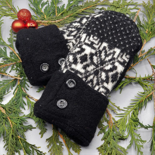 Recycled Wool Sweater Mittens, Felted & Fleece Lined, Scandinavian Cream Design on Black with Unique Buttoned Cuff, Women's Regular Size, 1127