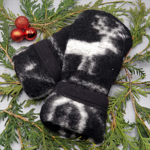 Recycled Wool Sweater Mittens, Felted & Fleece Lined, Cream Reindeer on Black with Patterned Cuff, Women's Regular Size, 1127