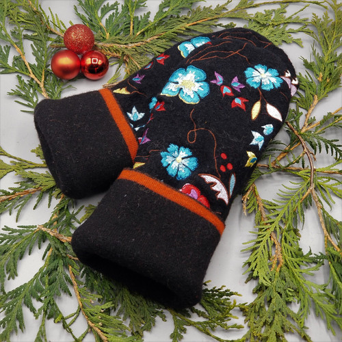 Recycled Wool Sweater Mittens, Felted & Fleece Lined, Embroidered Flowers in Teal / Yellow / Red / Purple on Black Boiled Wool with Black Cuff, Women's Regular Size, 1127