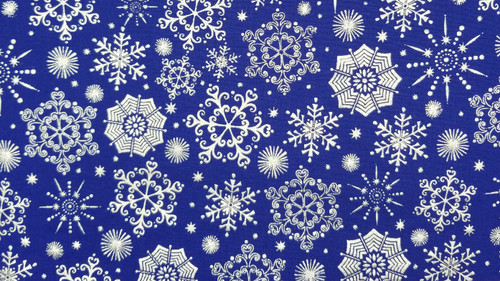 Embossed 3D Silver Snowflake on Royal Blue