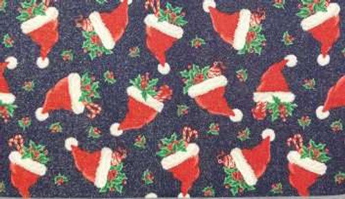Santa Hats on Navy with Sparkle