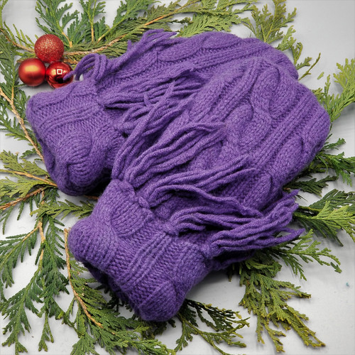 Recycled Wool Sweater Mittens, Felted & Fleece Lined, Large Cable Knit Purple with Cable Knit Cuff with Fringe, Women's Regular Size, 126