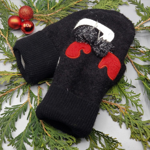 Recycled Wool Sweater Mittens, Felted & Fleece Lined, Cat Tail Holding Pare of Red Mittens with Poms on Black Boiled Wool with Black Ribbed Cuff, Women's Regular Size, 126
