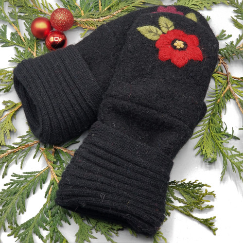 Recycled Wool Sweater Mittens, Felted & Fleece Lined, Embroidered Flowers with Leaves on Black Boiled Wool with Black Horizontal Ribbed Cuff, Women's Regular Size, 126
