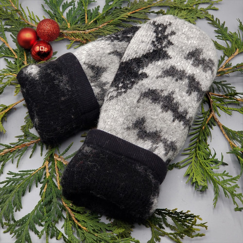 Recycled Wool Sweater Mittens, Felted & Fleece Lined, Black Reindeer on Heather Grey with Black Cuff, Women's Regular Size, 126
