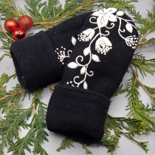 Recycled Wool Sweater Mittens, Felted & Fleece Lined, Embroidered Ivory Floral on Black Boiled Wool with Black Cuff, Women's Regular Size, 126