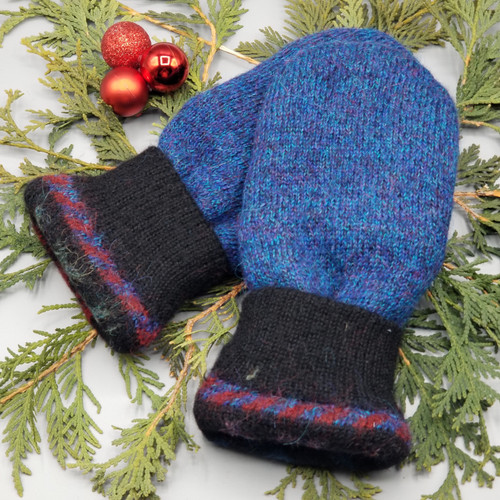 Recycled Wool Sweater Mittens, Felted & Fleece Lined, Blue and Purple Speck with Black Cuff and Black Leather Palm, Women's Regular Size, 128