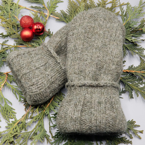 Recycled Wool Sweater Mittens, Felted & Fleece Lined, Olive Green Ribbed with Coordinating Cuff and Brown Leather Palm, Women's Regular Size, 128
