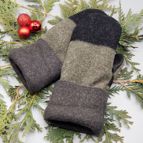Recycled Wool Sweater Mittens, Felted & Fleece Lined, Black and Greenish Grey with Charcoal Grey Cuff with Black Leather Palm, Women's Regular Size, 128