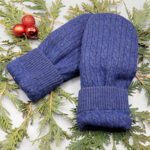 Recycled Wool Sweater Mittens, Felted & Fleece Lined, Blue Cable Knit with Blue Ribbed Cuff with Tan Leather Palm, Women's Regular Size, 128