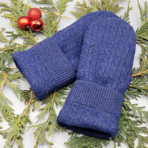 Recycled Wool Sweater Mittens, Felted & Fleece Lined, Blue Cable Knit with Blue Ribbed Cuff with Chocolate Brown Leather Palm, Women's Regular Size, 128