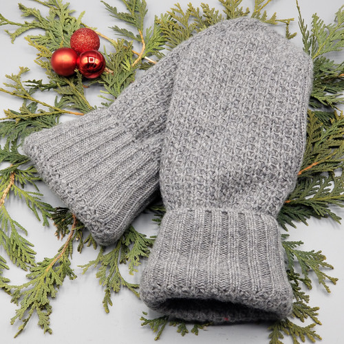 Recycled Wool Sweater Mittens, Felted & Fleece Lined, Heather Grey with Ribbed Heather Grey Cuff, Large Size, 128