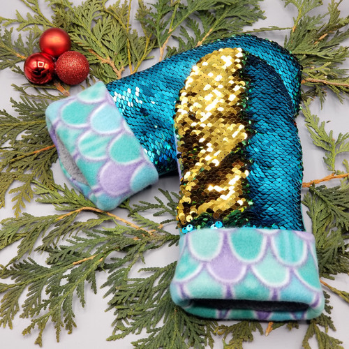 Child Large Sequin Bling Teal to Gold with Mermaid Scales of Teal and Purple Fleece, 1210