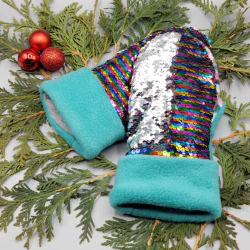 Child Large Sequin Bling Rainbow to Silver with Multi-Colored Jellies and Teal Fleece, 1210