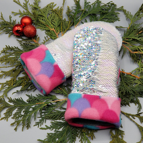 Child Large Sequin Bling Pearlized Pink to Iridescent Silver with Mermaid Scales Pink / Teal / Purple Fleece, 1210