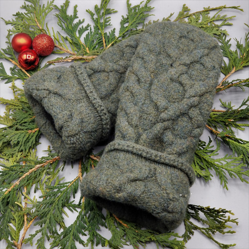 Recycled Wool Sweater Mittens, Felted & Fleece Lined, Boiled Wool Green Wide Cable Knit with Coordinating Cuff, Women's Regular Size, 126