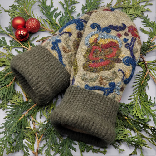 Recycled Wool Sweater Mittens, Felted & Fleece Lined, Embroidered Floral in Earth Tones with Olive Green Ribbed Cuff, Women's Regular Size, 126