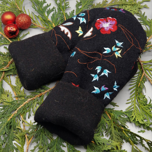 Recycled Wool Sweater Mittens, Felted & Fleece Lined, Embroidered Pink and Blue Floral on Black Boiled Wool with Black Cuff, Women's Regular Size, 126