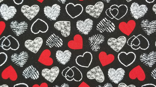 Red and White Hearts on Black - 125