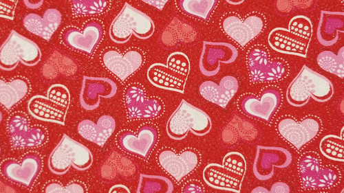 Designer Hearts of Many Colors on Red - 125