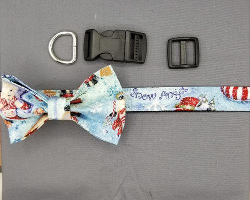"Collar & Bow Tie - Snowy Scene with Glitter - Large (1"" wide and 15.5"" - 22.5"" round) - 127"