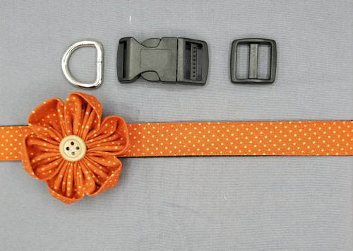 "Collar & Flower - Orange with Gold Dots - Large (1"" wide and 15.5"" - 22.5"" round) - 127"