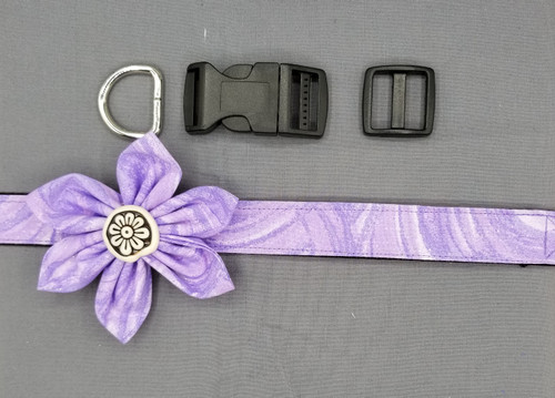 "Collar & Flower - Shades of Purple - Large (1"" wide and 15.5"" - 22.5"" round) - 127"