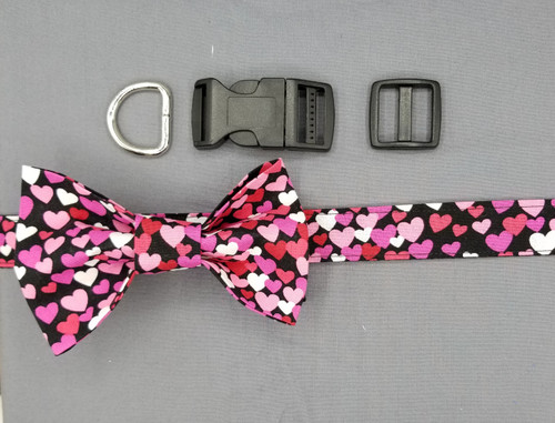 "Collar & Bow Tie - Pink Hearts on Black - Large (1"" wide and 15.5"" - 22.5"" round) - 127"