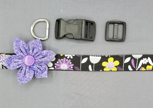 "Collar & Purple Flower - Purple and Grey Floral on Black - Large (1"" wide and 15.5"" - 22.5"" round) - 127"