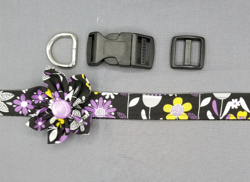 "Collar & Flower - Purple and Grey Floral on Black - Large (1"" wide and 15.5"" - 22.5"" round) - 127"