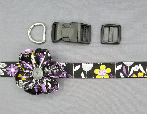 "Collar & Rounded Flower - Purple and Grey Floral on Black - Large (1"" wide and 15.5"" - 22.5"" round) - 127"