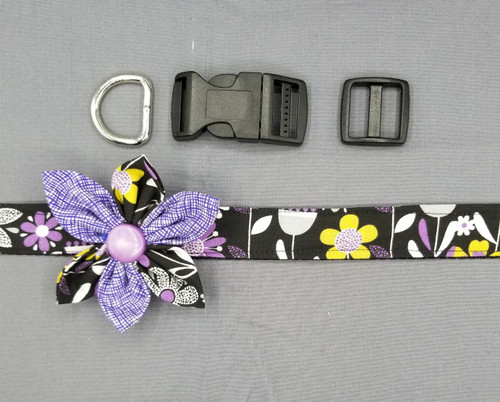 "Collar & Two Tone Flower - Purple and Grey Floral on Black - Large (1"" wide and 15.5"" - 22.5"" round) - 127"
