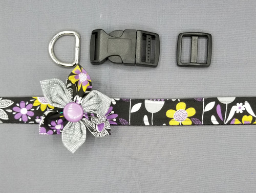 "Collar & Two Tone Grey Flower - Purple and Grey Floral on Black - Large (1"" wide and 15.5"" - 22.5"" round) - 127"