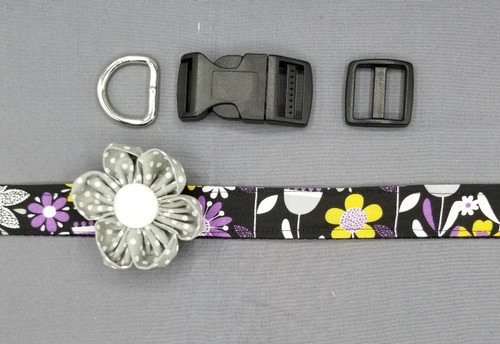 "Collar & Grey Dot Flower - Purple and Grey Floral on Black - Large (1"" wide and 15.5"" - 22.5"" round) - 127"