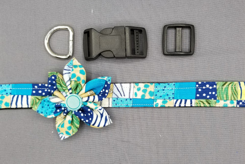 "Collar & Flower - Patchwork Teal - Large (1"" wide and 15.5"" - 22.5"" round) - 127"