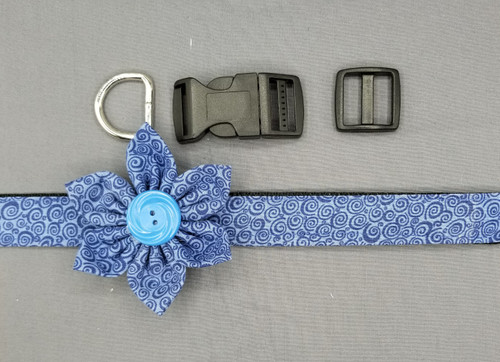 "Collar & Flower - Shades of Blue - Large (1"" wide and 15.5"" - 22.5"" round) - 127"
