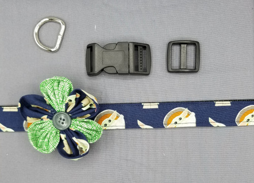 "Collar & Multi-Colored Flower - Baby Yoda on Navy - Large (1"" wide and 15.5"" - 22.5"" round) - 127"