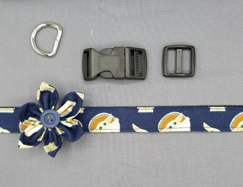 "Collar & Flower - Baby Yoda on Navy - Large (1"" wide and 15.5"" - 22.5"" round) - 127"
