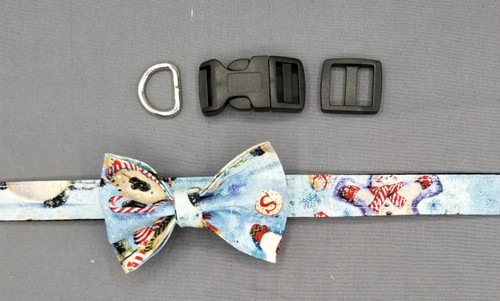"Collar & Small Bow Tie - Snowy Scene with Glitter - Medium (3/4"" wide and 12"" - 17.5"" round) - 127"