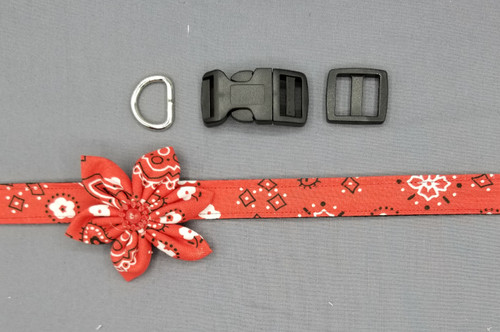 "Collar & Small Flower - Red Bandana - Medium (3/4"" wide and 12"" - 17.5"" round) - 127"