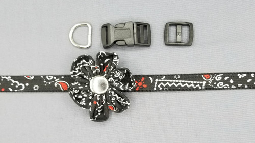 "Collar & Rounded Flower - Bandana with Red and White on Black - Extra Small (5/8"" wide and 8"" - 11"" round) - 127"