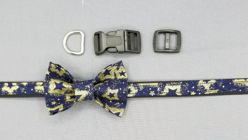 "Collar & Small Bow Tie - Gold Stars on Navy - Extra Small (5/8"" wide and 8"" - 11"" round) - 127"